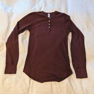 American Apparel burgundy waffle knit thermal